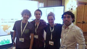 Álvaro Flaño, Tomás Ceruti, Louise Munck (de ASCIO) y Marcio Miralles. Equipo Hosting.cl en el World Hosting Days